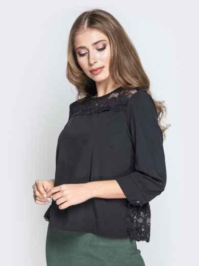 Чёрная блузка свободного кроя с гипюровыми вставками - 20782, фото 2 – интернет-магазин Dressa