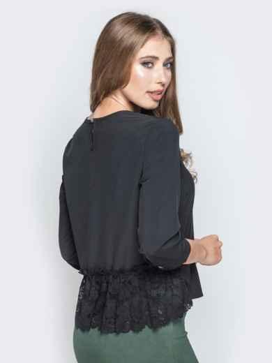 Чёрная блузка свободного кроя с гипюровыми вставками - 20782, фото 3 – интернет-магазин Dressa