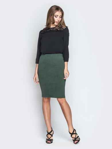 Чёрная блузка свободного кроя с гипюровыми вставками - 20782, фото 4 – интернет-магазин Dressa