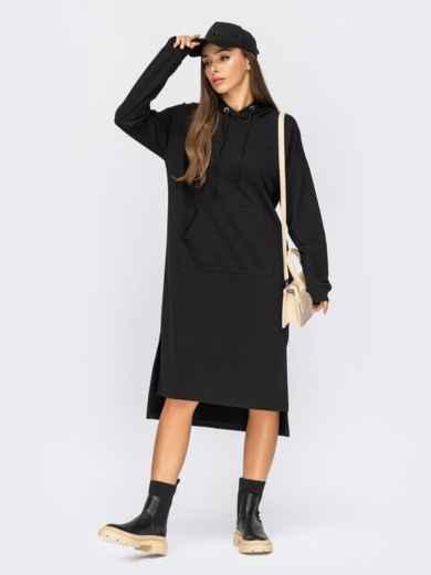Черное платье-худи с капюшоном и удлиненной спинкой 55093, фото 1