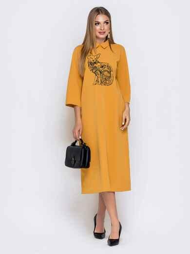 """Горчичное платье свободного кроя с рисунком """"кот"""" 40852, фото 1"""