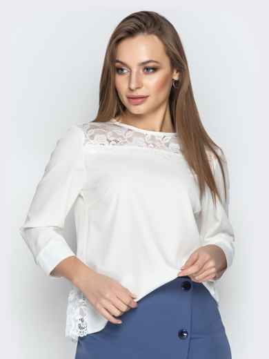 Молочная блузка свободного кроя с гипюровыми вставками - 20779, фото 4 – интернет-магазин Dressa