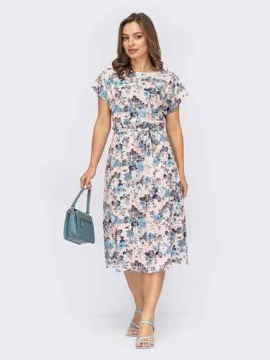 Платье цвета пудры с принтом и резинкой в поясе 53711, фото 1
