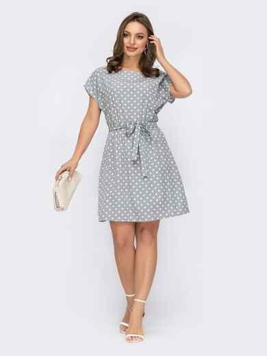 Платье с принтом и резинкой в поясе серое 53709, фото 1
