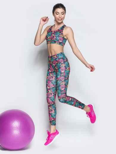 Принтованный комплект для фитнеса с топом - 38769, фото 2 – интернет-магазин Dressa