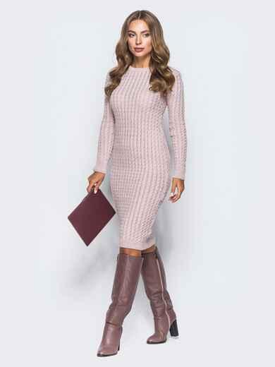 Розовое платье крупной ажурной вязки 15968, фото 1