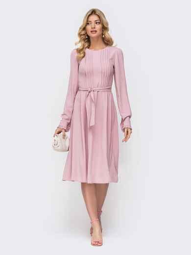 Розовое платье с расклешенной юбкой 45599, фото 1