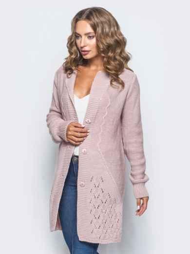 Розовый кардиган фактурной вязки - 15869, фото 2 – интернет-магазин Dressa