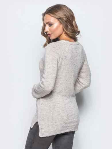Свитер пудрового цвета с люверсами на полочке - 16034, фото 3 – интернет-магазин Dressa