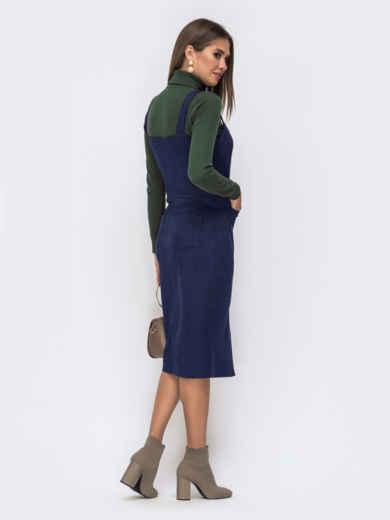 Тёмно-синий замшевый сарафан с карманами 50563, фото 3