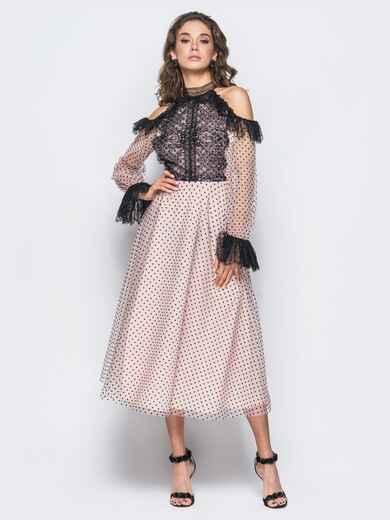 Вечернее платье с кружевом и открытыми  плечами розовое - 17891, фото 1 – интернет-магазин Dressa
