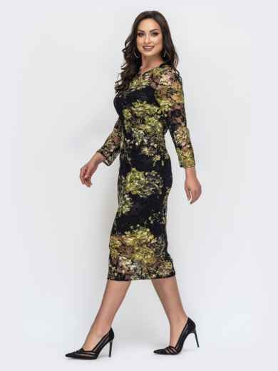 Зеленое платье батал из гипюра с комбинацией 44684, фото 2