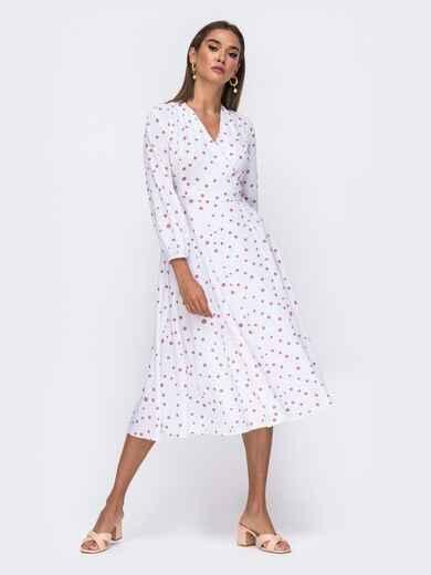 Белое платье-миди на запах в горох цвета пудры  50101, фото 1