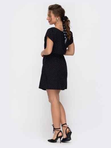 Черное платье-мини с принтом в горох 46918, фото 2