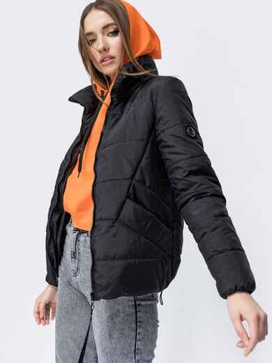 Демисезонная куртка с воротником-стойкой чёрная 45390, фото 1