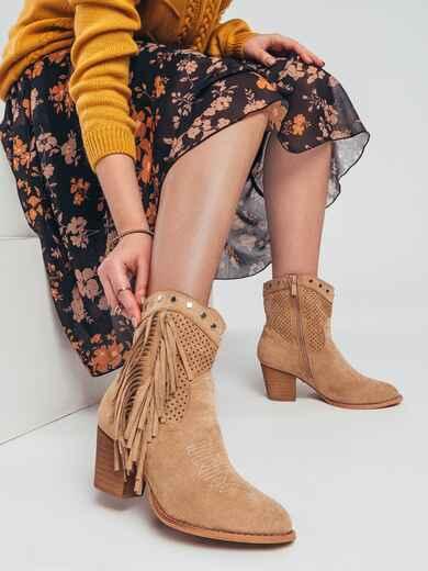 Демисезонные ботинки с бахромой бежевые 51369, фото 1