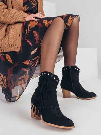 Демисезонные ботинки с бахромой чёрные 51368, фото 1