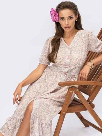 Платье молочного цвета с цветочным принтом 54307, фото 1