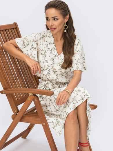 Белое платье с цветочным принтом и резинкой в поясе 54308, фото 1