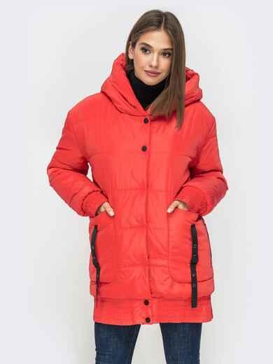Куртка на молнии с глубоким капюшоном красная 41409, фото 1