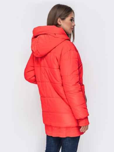 Куртка на молнии с глубоким капюшоном красная 41409, фото 3