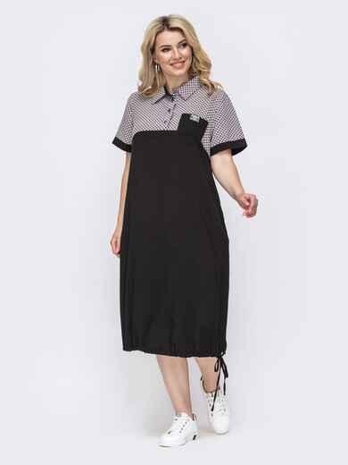 Летнее платье батал прямого кроя чёрное 49893, фото 1