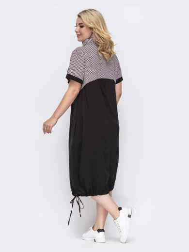 Летнее платье батал прямого кроя чёрное 49893, фото 2