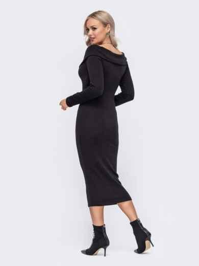 Облегающее платье с широким V-образным вырезом черное 50888, фото 2