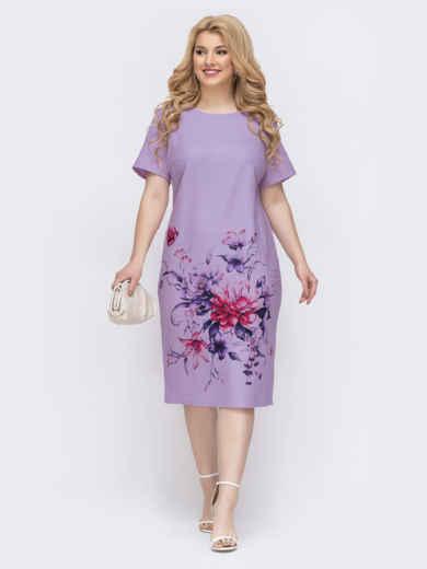 Платье-футболка большого размера с принтом фиолетовое 48900, фото 2