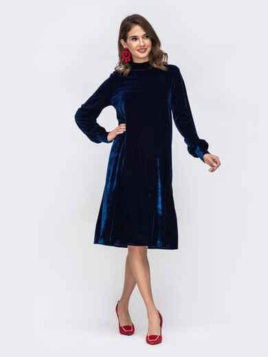 Платье трапеция с воротником-стойкой тёмно-синее 42636, фото 1