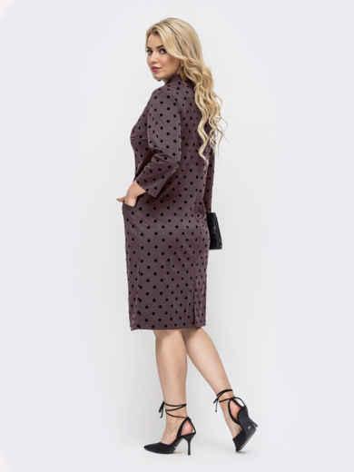 Приталенное платье батал коричневого цвета в горох 51196, фото 2