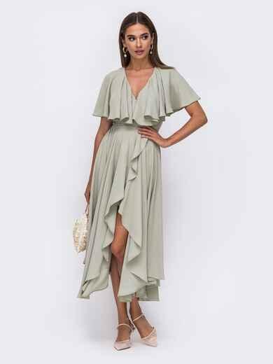 Романтичное платье на запах из креп цвета хаки 50100, фото 1