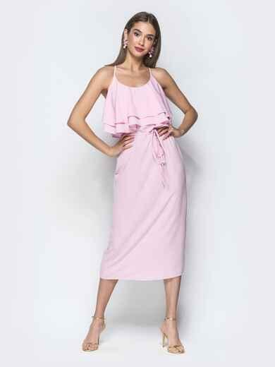 Розовое платье на бретелях с воланом по верху 39389, фото 1