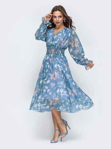 Шифоновое платье с широкой резинкой по талии голубое - 45453, фото 1 – интернет-магазин Dressa
