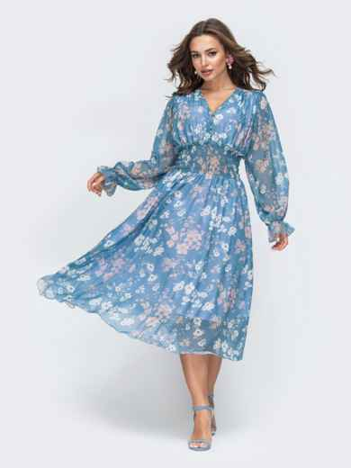 Шифоновое платье с широкой резинкой по талии голубое - 45453, фото 2 – интернет-магазин Dressa