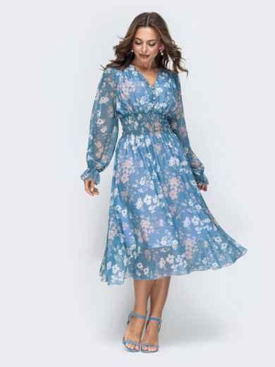 Шифоновое платье с широкой резинкой по талии голубое - 45453, фото 3 – интернет-магазин Dressa