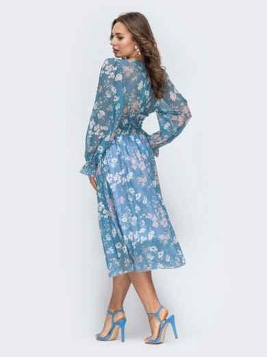 Шифоновое платье с широкой резинкой по талии голубое - 45453, фото 4 – интернет-магазин Dressa