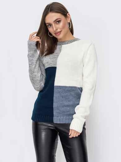 Темно-синий свитер прямого кроя в стиле color block 52747, фото 1