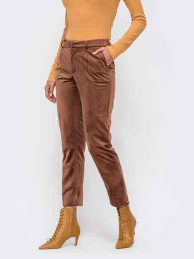 Укороченные брюки из бархата со шлевками коричневые 41721, фото 2