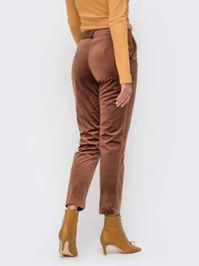 Укороченные брюки из бархата со шлевками коричневые 41721, фото 3
