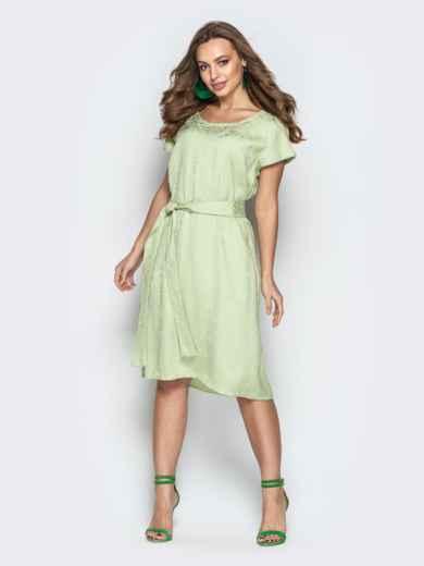 Жаккардовое платье свободного кроя салатовое - 20671, фото 1 – интернет-магазин Dressa
