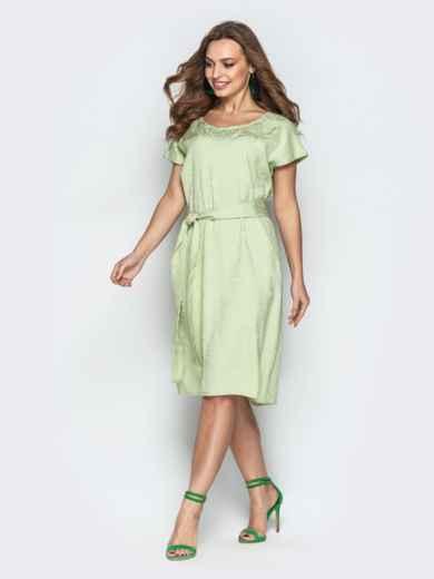 Жаккардовое платье свободного кроя салатовое - 20671, фото 2 – интернет-магазин Dressa