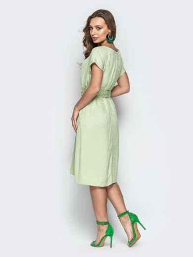 Жаккардовое платье свободного кроя салатовое - 20671, фото 3 – интернет-магазин Dressa