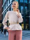 Бежевая блузка с вырезом по спинке и бантом 49390, фото 1
