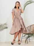 Бежевое платье на запах большого размера 46351, фото 1