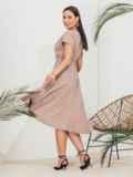 Бежевое платье на запах большого размера 46351, фото 2