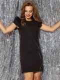 """чёрное платье с рукавом """"крылышко"""" и вырезом по спинке 42842, фото 2"""