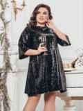 Чёрное платье-трапеция с пайетками 43285, фото 1