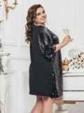 Чёрное платье-трапеция с пайетками 43285, фото 2