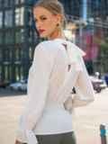 Молочная блузка с вырезом по спинке и бантом 49388, фото 2